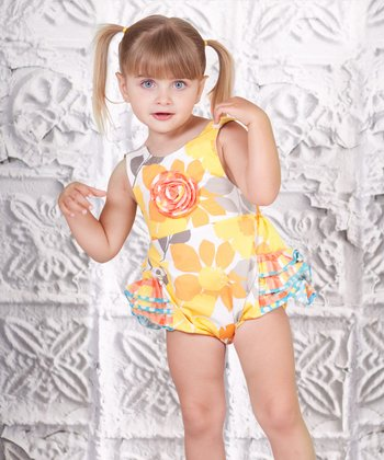Yellow Floral Baby Bubble Ruffle Romper - Infant