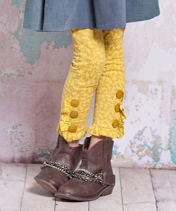 Yellow Bee Button Leggings - Infant, Toddler & Girls