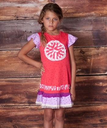 Raspberry Polka Dot Tea Party Dress - Infant, Toddler & Girls