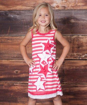 Raspberry Stars & Stripes Dress - Infant, Toddler & Girls