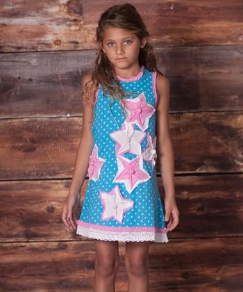 Porcelain Blue Dots & Stars Dress - Infant, Toddler & Girls