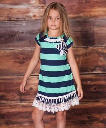 Teal Charmed Rugby Stripe Dress - Infant & Toddler