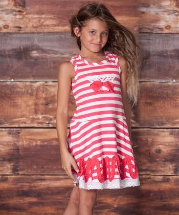 Raspberry Butterfly Stripe Dress - Infant, Toddler & Girls