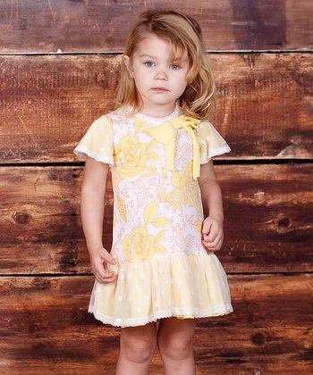 Yellow Buttercream Floral Bow Dress - Infant, Toddler & Girls
