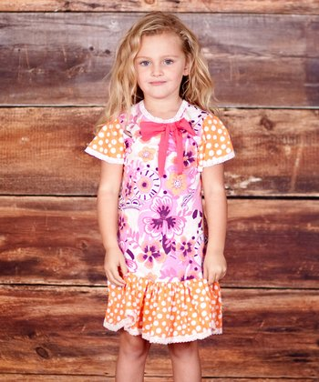 Fuchsia & Orange Confetti Bow Dress - Infant, Toddler & Girls