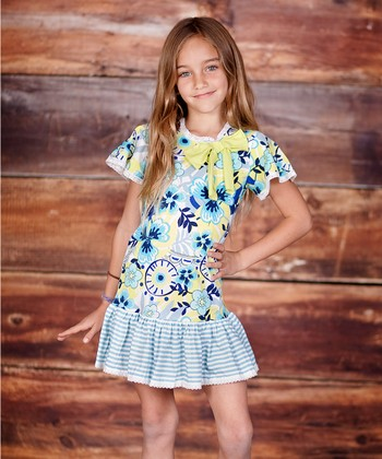 Turquoise & Lime Confetti Bow Dress - Infant, Toddler & Girls