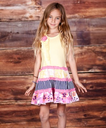 Yellow & Pink Chloe Tiered Dress - Infant & Toddler