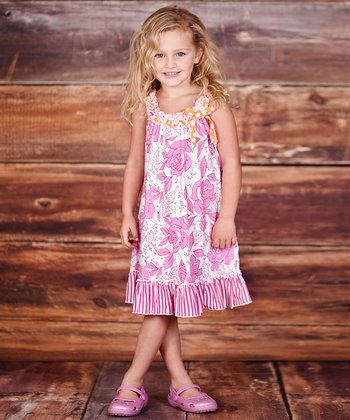 Pink Floral Embroidered Dress - Infant & Toddler