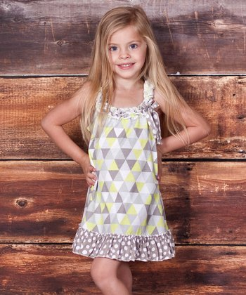 Lime Geometric Embroidered Dress - Infant, Toddler & Girls