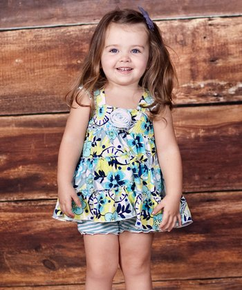 Turquoise & Lime Floral Dress - Infant