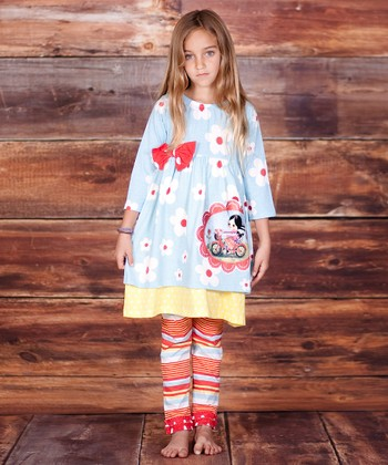 Blue & Red Bicycle Dress & Leggings - Infant, Toddler & Girls