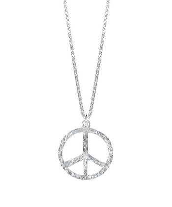 Sterling Silver Hammered Peace Pendant Necklace