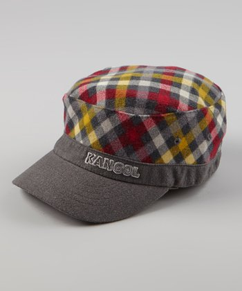 Gray & Red Flannel Army Cap