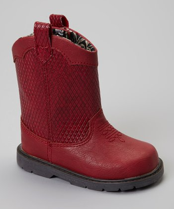 Red Embossed Blaze Cowboy Boot