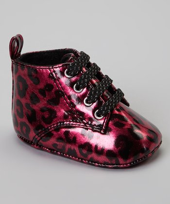 Fuchsia & Black Leopard Lil' Wild Thing Ankle Boot