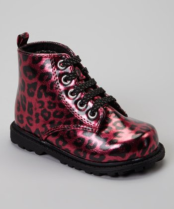 Fuchsia & Black Leopard Wild Thing Ankle Boot