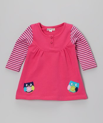 Pink Stripe Owl Layered Jumper - Infant