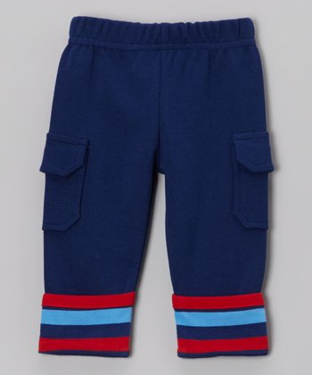 Navy Stripe Roll-Up Cargo Pants - Infant