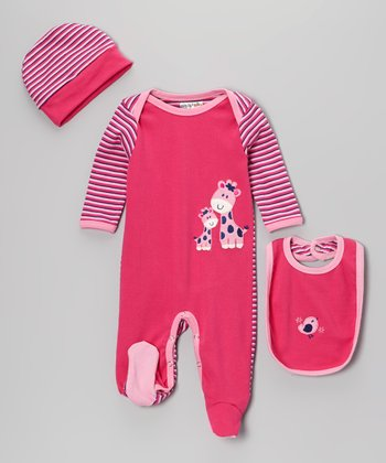 Pink Giraffe Footie Set - Infant