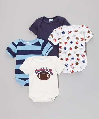 Mon Cheri Baby White Football Bodysuit Set