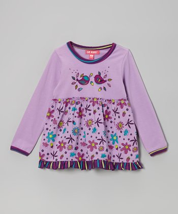 Lilac Birds Empire-Waist Tunic - Infant & Toddler