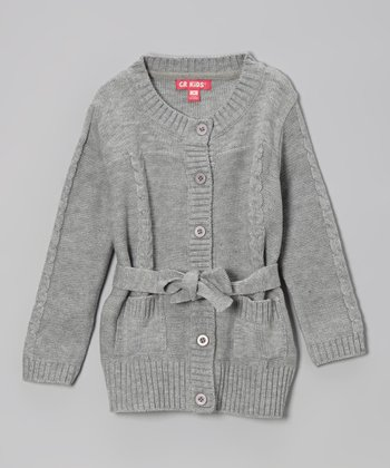 Heather Gray Tie Cardigan - Girls