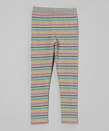 Heather Gray & Rainbow Stripe Leggings - Infant, Toddler & Girls
