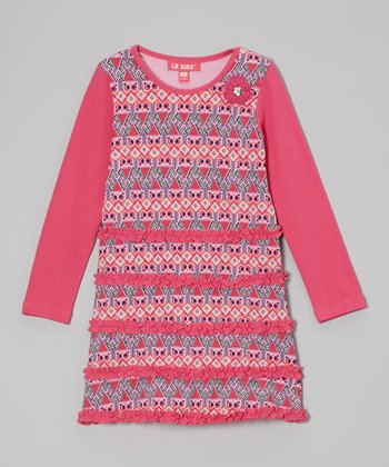 Light Pink Owl Ruffle Dress - Infant, Toddler & Girls