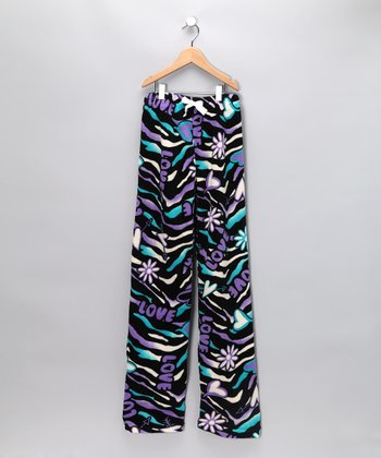 Black Zebra Icon Pajama Pants - Kids