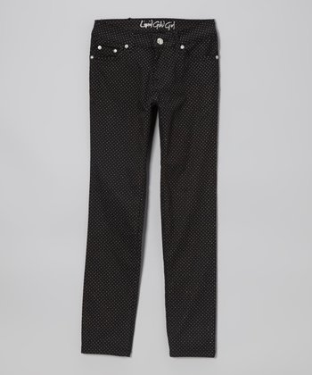 Black Polka Dot Skinny Jeans - Girls