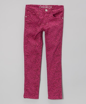 Pink Animal Print Skinny Jeans - Girls