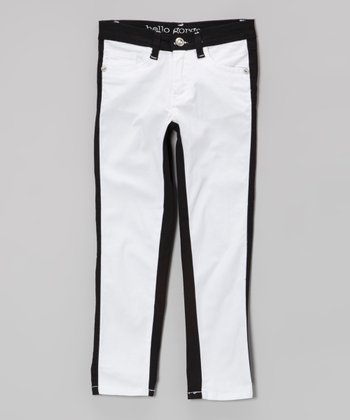 White & Black Color Block Skinny Jeans - Girls