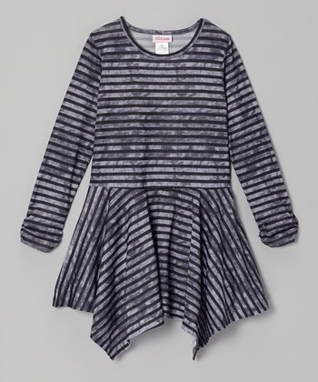Gray Stripe Handkerchief Dress - Toddler & Girls