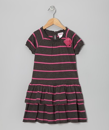 Gray & Pink Stripe Ruffle Dress - Girls