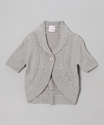 Heather Gray Cable-Knit Cardigan - Girls