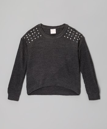 Dark Gray Studded-Shoulder Sweater - Girls