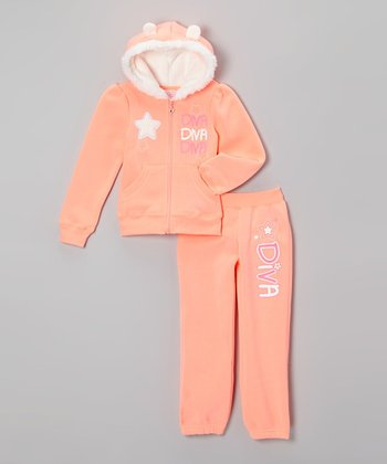 Neon Orange 'Diva' Faux Fur Hoodie & Pants - Toddler