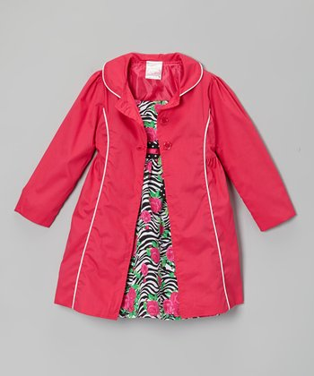 Pink Zebra Rose Babydoll Dress & Jacket - Infant, Toddler & Girls