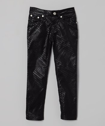 Black Snakeskin Skinny Jeans - Girls