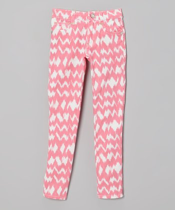 Pink & White Ikat Skinny Jeans - Toddler & Girls