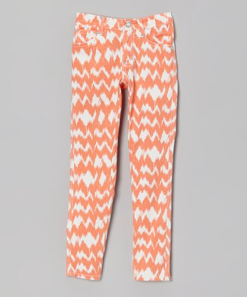 Orange & White Ikat Skinny Jeans - Girls