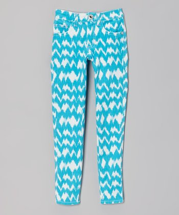 Turquoise & White Ikat Skinny Jeans - Toddler & Girls