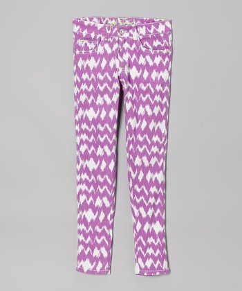 Purple & White Ikat Skinny Jeans - Toddler & Girls