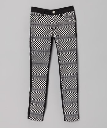 Black & White Checkerboard Skinny Jeans - Girls