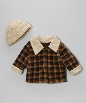 Brown Plaid Jacket & Beanie - Infant & Toddler
