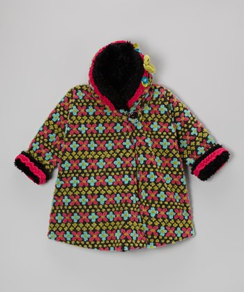 Charcoal Fair Isle Wrap Swing Coat - Toddler & Girls
