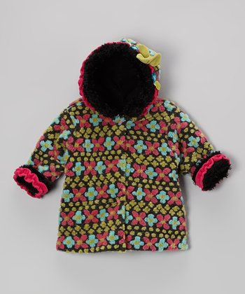 Charcoal Floral Hooded Swing Coat - Infant