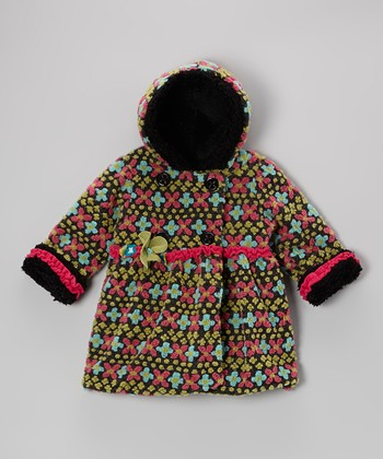 Charcoal Fair Isle Bubble Coat - Toddler & Girls