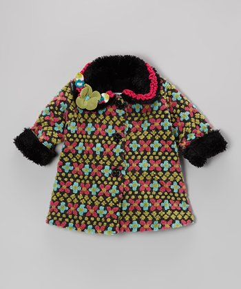 Charcoal Fair Isle Sweet Pea Coat - Toddler & Girls