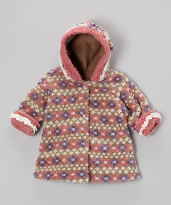 Tan Fair Isle Hooded Swing Coat - Infant & Toddler